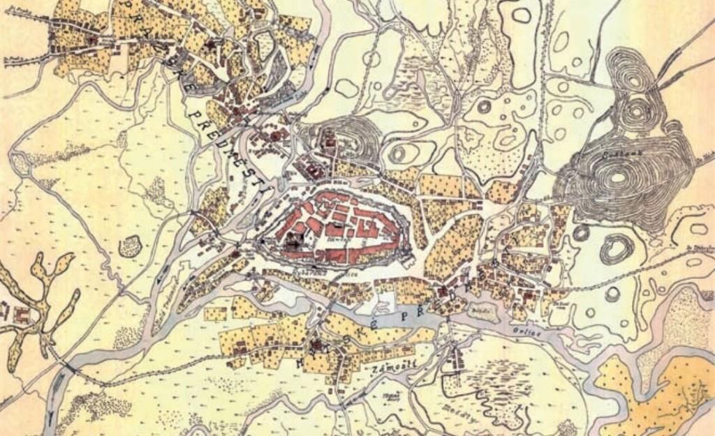 Ideální situace města Hradec Králové koncem 16. století