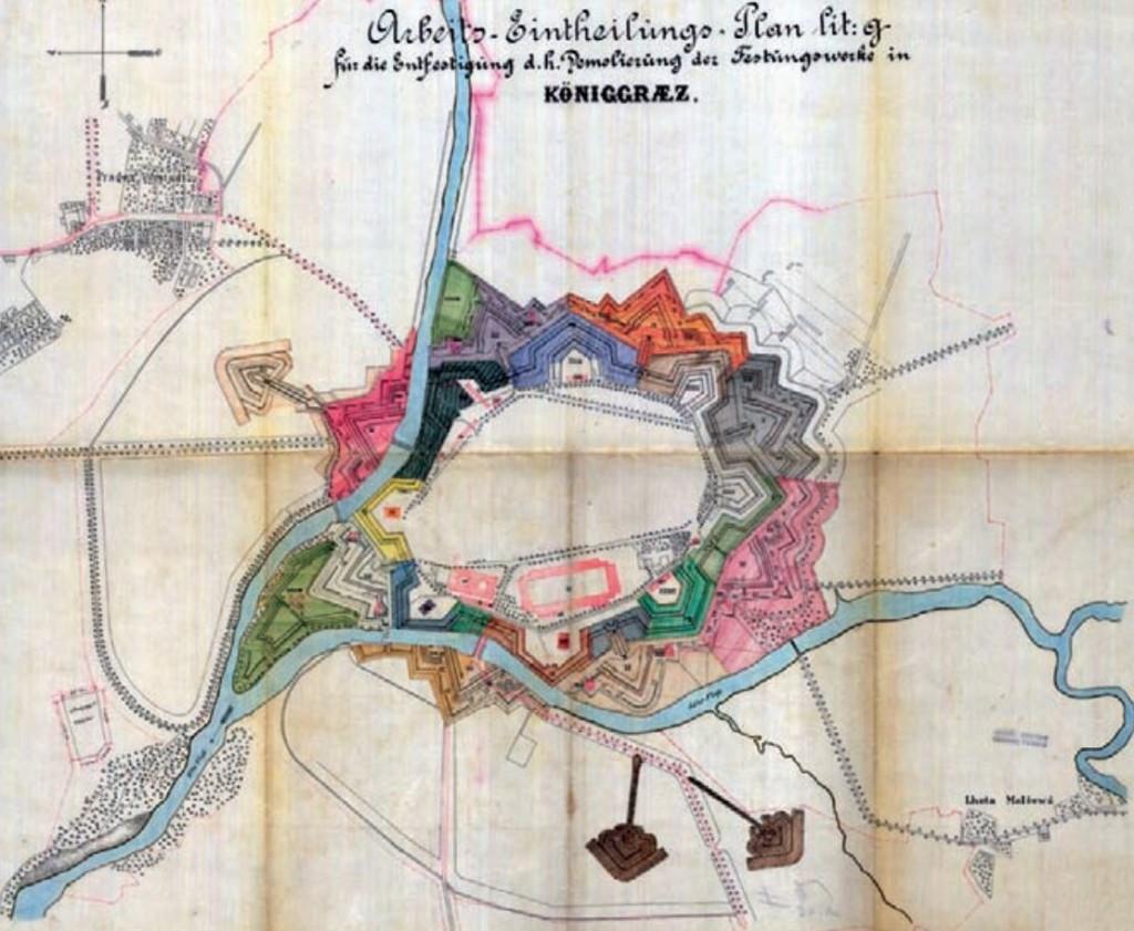 Celkový plán pevnosti Hradec Králové (1885)