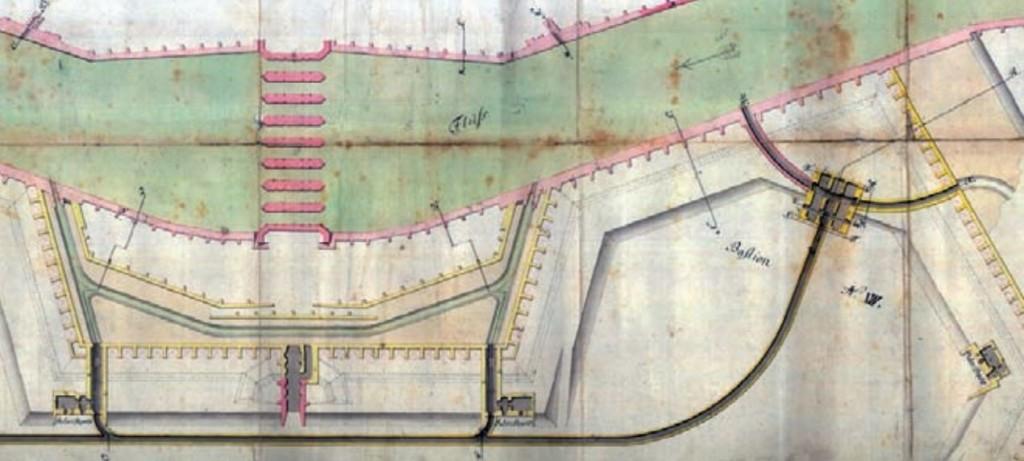 Labe s Pražským pevnostním mostem a částí vodního systému pevnosti (1781)