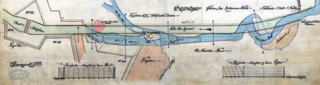 Trasa nového labského koryta před Pražským pevnostním mostem (1777)
