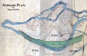 Rozložení bývalých labských ramen v prostoru dnešního Pražského Předměstí (1768)
