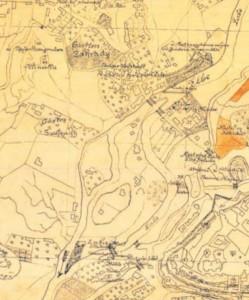Ideální situace labských říčních staveb v prostoru Pražského Předměstí na začátku 18. století