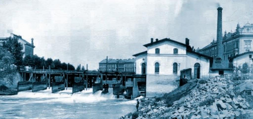 Pevnostní jez hučák na Labi s budovou městské vodárny (1908)